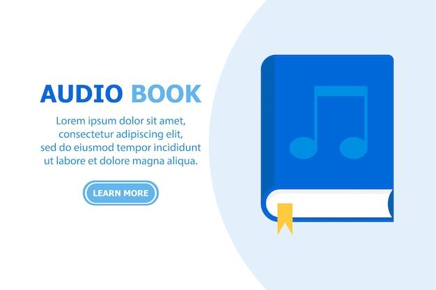 El blue book audio book está representado sobre un fondo blanco y el texto está a la izquierda.