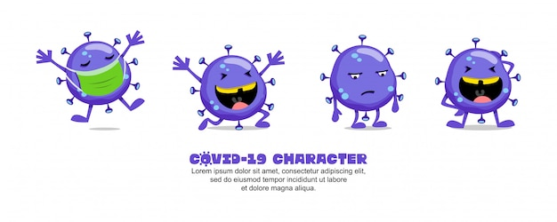 Blue covid-19. diseño de inspiración de dibujos animados de coronavirus. máscara, feliz, triste y risa