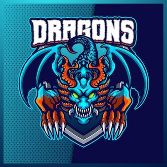 Blue dragons esport y diseño de logotipo de mascota deportiva con ilustración moderna. ilustración de hydra