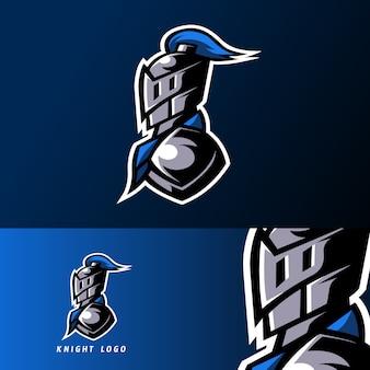 Blue knight sport esport plantilla de logotipo con armadura y juego de casco