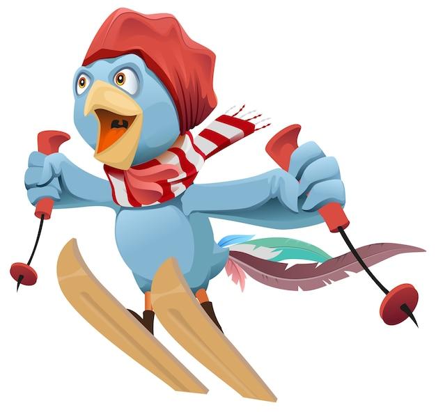Blue rooster vuela esquiando. aislado en la ilustración de dibujos animados blanco