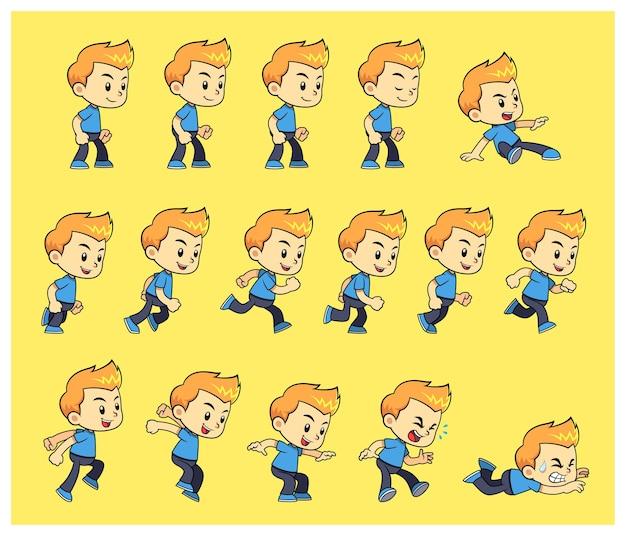 Blue shirt boy game sprites