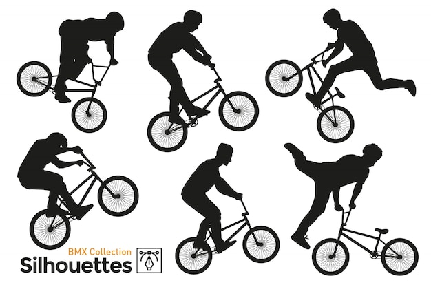 Bmx bicicleta conjunto de siluetas. bicicleta bmx aislada.