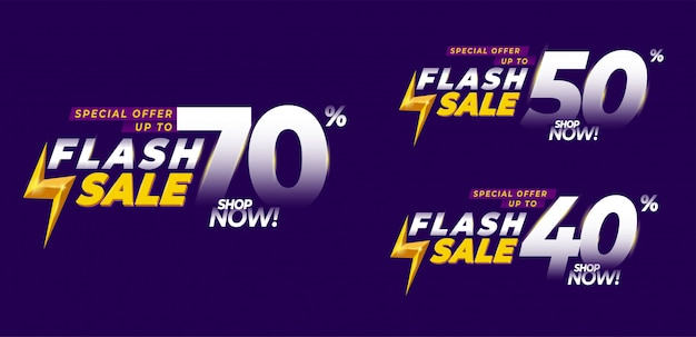 Bndle oferta especial banner de venta flash, folleto de título o póster, hasta 40% de descuento