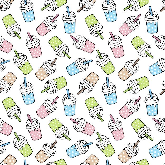Boba leche té de patrones sin fisuras burbuja hielo café