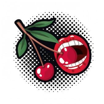 Boca femenina goteando con fruta de cereza.