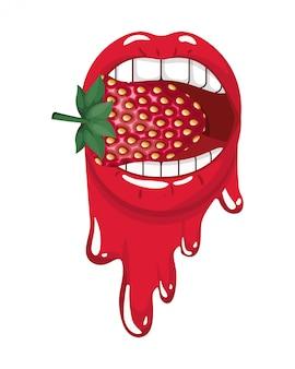 Boca femenina goteando con fruta de fresa.