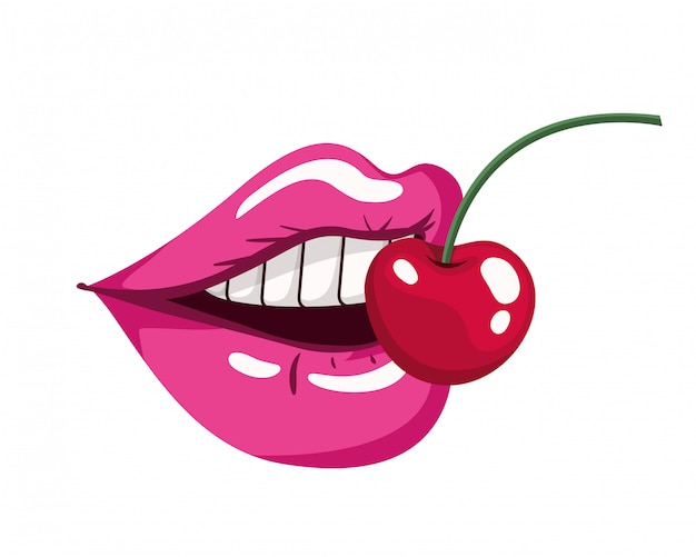 Boca femenina con icono aislado cereza