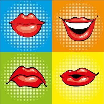 Boca con labios rojos en estilo retro pop art