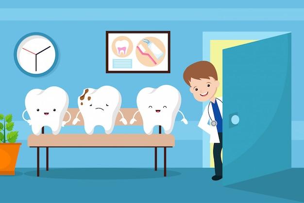 Boca sana vector concepto de los niños. dientes en la sala de espera del dentista.