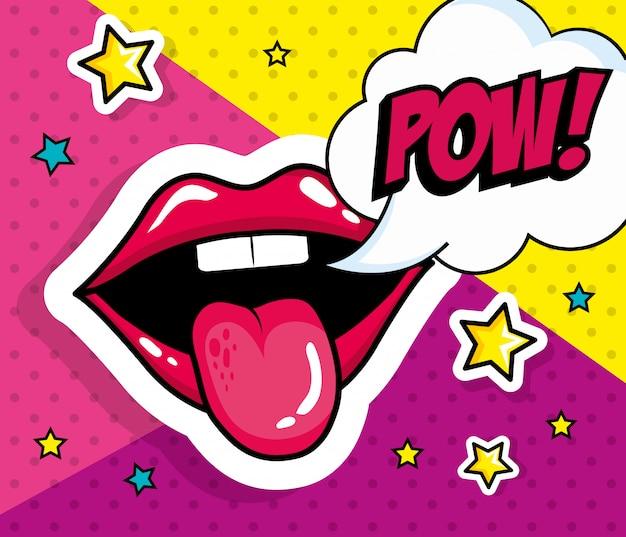 Boca sexy con lengua fuera y estilo pop art de expresión pow