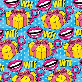 Boca con signo de mujer y regalo y mensaje de patrones sin fisuras