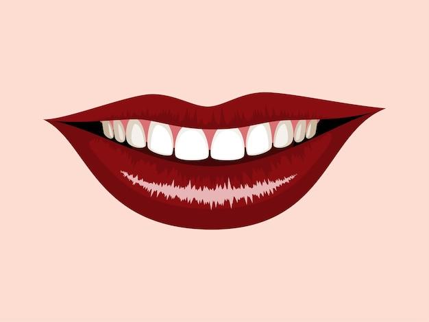 Boca sonriente con labios rojos
