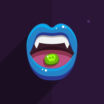 Boca de vampiro con labios rojos abiertos y dientes largos sobre fondo negro