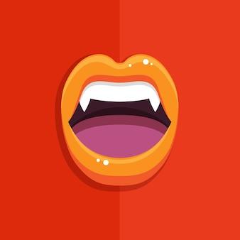 Boca de vampiro con labios rojos abiertos y dientes largos sobre fondo rojo.