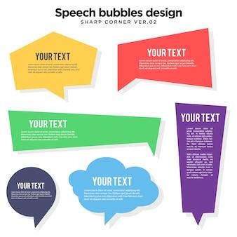 Bocadillo de colores burbuja ilustración de esquina aguda