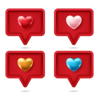 Bocadillo de diálogo 3d realista con corazón 3d colorido