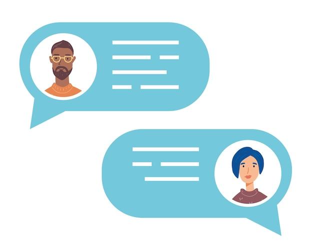 Bocadillo de diálogo con avatares de personas que hablan. concepto de chat, mensaje, comunicación web, mensajería.