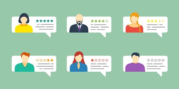 Bocadillo de diálogo de chat de retroalimentación con avatares masculinos y femeninos. revise el sistema de clasificación de cinco estrellas con una recopilación de tasas de testimonios buenos y malos. concepto de ilustración de eps de evaluación de calidad de vector