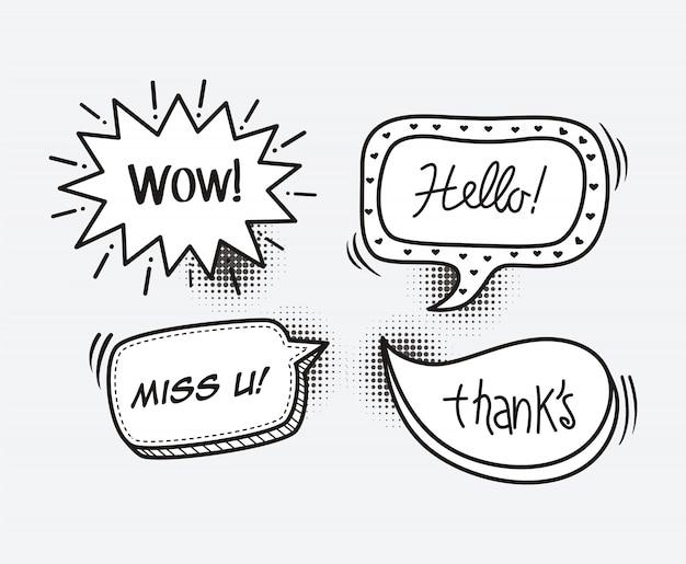 Bocadillo de diálogo de cómic palabra de dibujos animados wow, hola, te extraño, gracias