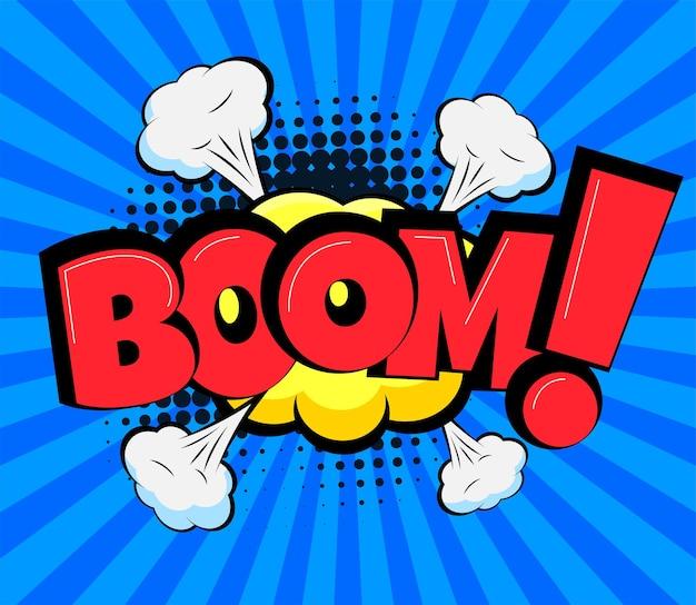 Bocadillo de diálogo cómico con ilustración de dibujos animados de texto boom en estilo retro pop art
