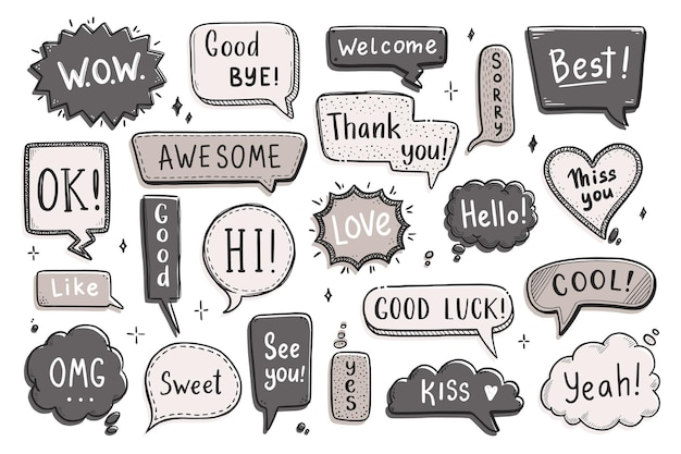 Bocadillo de diálogo cómico con palabra de diálogo hola, ok, adiós, bienvenido. boceto dibujado a mano estilo doodle. ilustración vectorial chat de burbujas de discurso, elemento de mensaje.