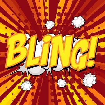 Bocadillo de diálogo cómico de redacción de bling en ráfaga