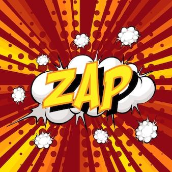 Bocadillo de diálogo cómico de redacción zap en ráfaga