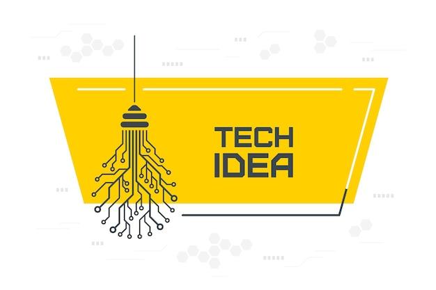 Bocadillo de diálogo de cotización de bombilla de placa de circuito impreso con espacio de copia, idea de nueva tecnología