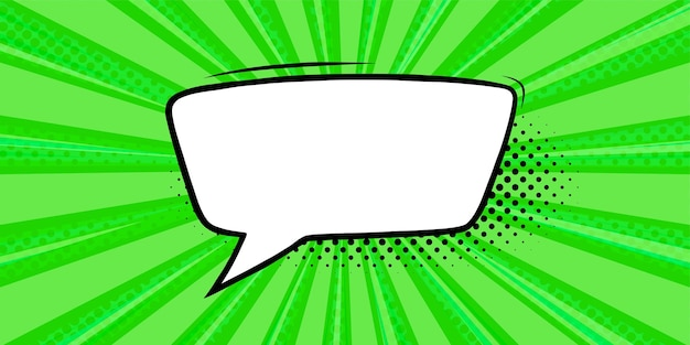 Bocadillo de diálogo en fondo de semitono verde plantilla de banner de promoción con burbuja de texto cuadrado