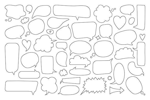 Bocadillo de diálogo pensamiento cómico vacío y globos parlantes burbujas de texto de doodle dibujados a mano