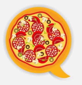Bocadillo de diálogo de pizza. ilustración vectorial