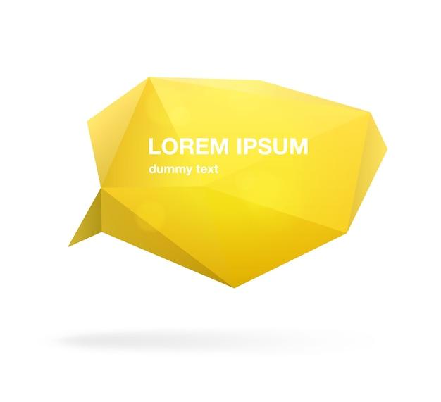 Bocadillo de diálogo poligonal amarillo o globo, cita, frase o mensaje