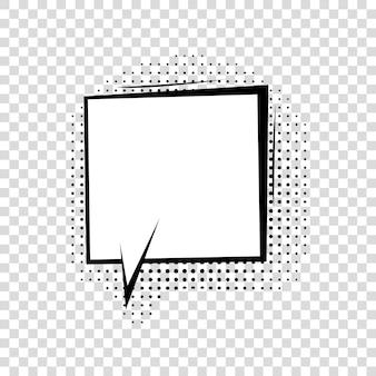 Bocadillo de diálogo con sombras de semitono en estilo cómic de dibujos animados