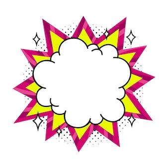 Bocadillo de diálogo vacío de explosión rosa y amarillo en estilo pop art