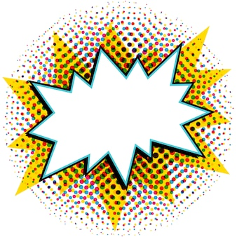 Bocadillo estilo pop art. cómic estilo pop-art con forma de explosión vacía en un medio tono de varios colores.