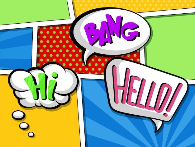 Bocadillos cómicos con conjunto de texto, coloridos efectos de sonido de dibujos animados ilustraciones en estilo pop art