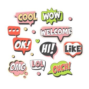 Bocadillos de moda para. discurso de burbujas con mensajes cortos. dibujos animados coloridos ilustraciones detalladas