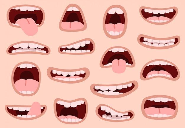 Bocas de divertidos dibujos animados. boca dibujada a mano cómica, sonrientes expresiones faciales artísticas, caricatura, labios, emociones, ilustración, símbolos, set. mueca artística y caricatura boca positiva