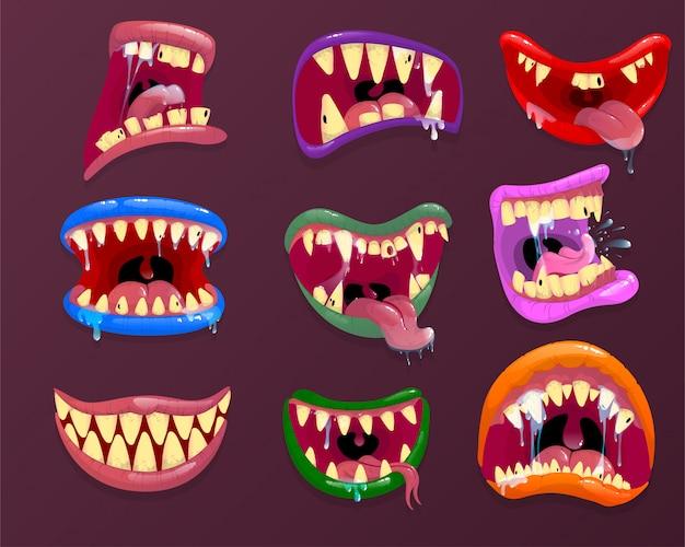 Bocas de monstruo expresión facial aterradora, boca abierta con lengua y baba.