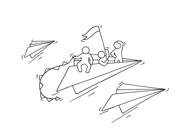 Boceto de avión de papel volador con pequeños trabajadores.
