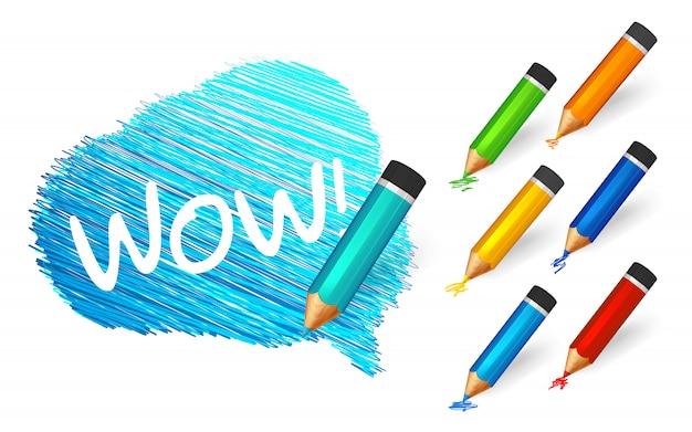 Boceto banner dibujado con lápices de colores de dibujos animados
