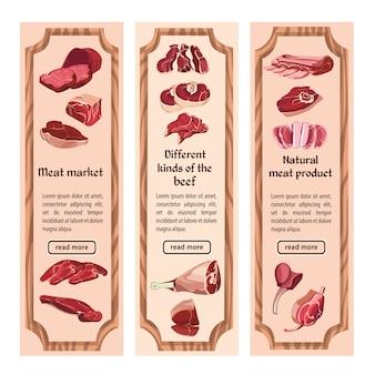 Boceto banners verticales de carne colorida