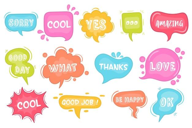 Boceto de burbujas de discurso conjunto de burbujas de discurso cómico. de burbujas de palabra de chat, nube dibujada a mano, banner en estilo cómico aislado sobre fondo.