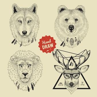 Boceto de cabezas de animales salvajes oso, lobo, león, venado en estilo hipster