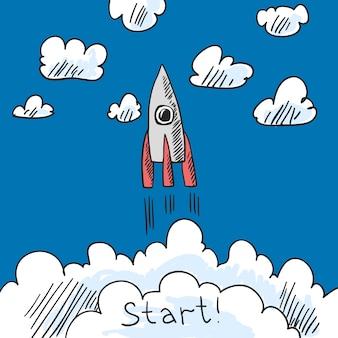 Boceto del cartel de cohete