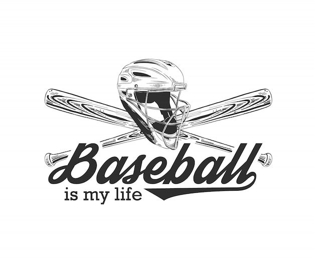 Boceto de casco de béisbol y bate con tipografía.