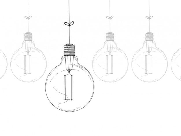 Boceto de colgar bombillas aisladas sobre fondo blanco. sin costura