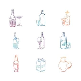 Boceto colorido conjunto de bebidas alcohólicas y no alcohólicas