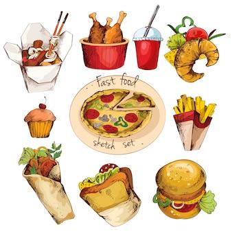 Boceto de comida rápida conjunto